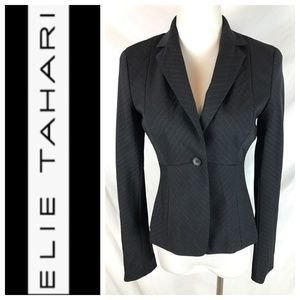Elie Tahari Black White Pinstripe Fitted Blazer